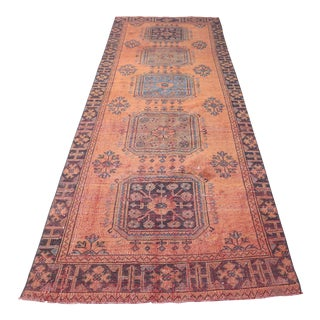 "1960's Vintage Turkish Hand-Knotted Wide Runner Rug - 4'1"" X 11'5"" For Sale"