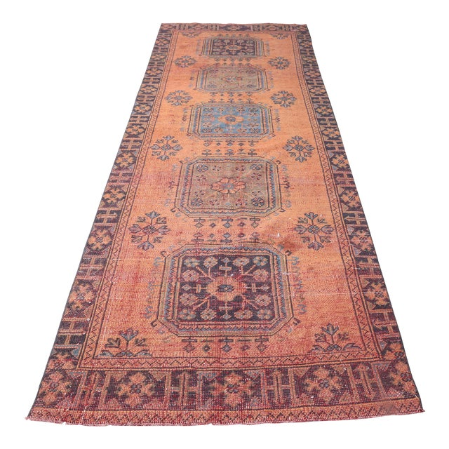 """1960's Vintage Turkish Hand-Knotted Wide Runner Rug - 4'1"""" X 11'5"""" For Sale"""