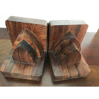 Vintage Mid Century Modern Art Deco Architectural Rosewood Bookends - a Pair Preview