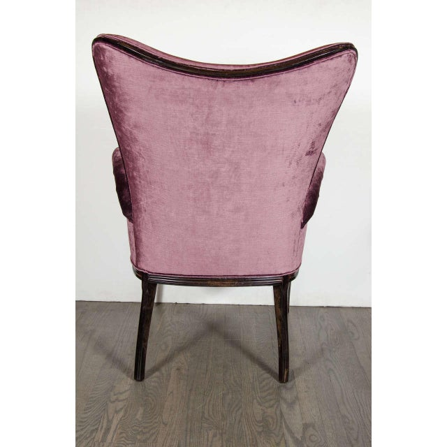 Pair of 1940s Wingback Chairs in Smoked Amethyst Velvet by Grosfeld House For Sale In New York - Image 6 of 7