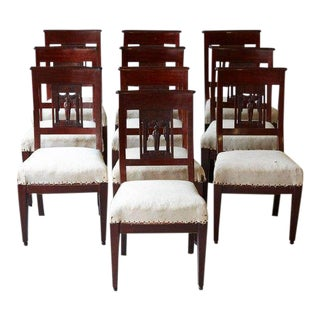Set of Ten Antique Dining Chairs With Back Carvings For Sale