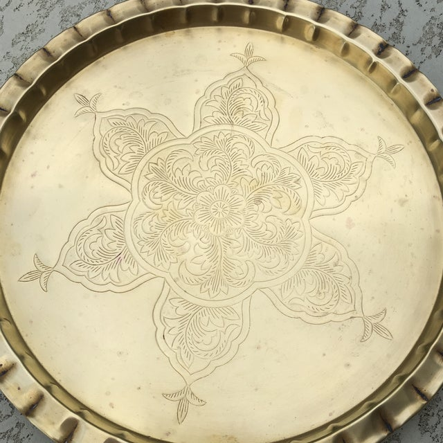 Vintage Round Bohemian Mid-Century Brass Tray For Sale - Image 5 of 11