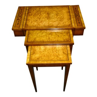 Vintage Unusual Weiman Regency Style Inlaid Stacking Tables For Sale