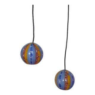 Late 20th Century Murano Style Pendant Globe Lamps - a Pair For Sale