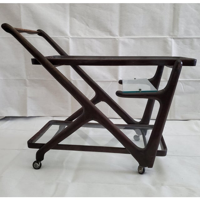 1950s Italian Mid-Century Modern Serving Bar Cart - in Manner of Ico Parisi For Sale - Image 9 of 12