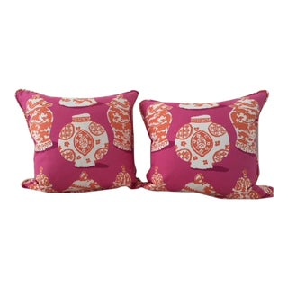 Dana Gibson Pink & Orange Designer Pillows - A Pair For Sale