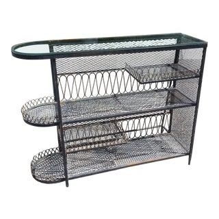 Vintage Salterini Style Wrought Iron and Mesh Bar For Sale