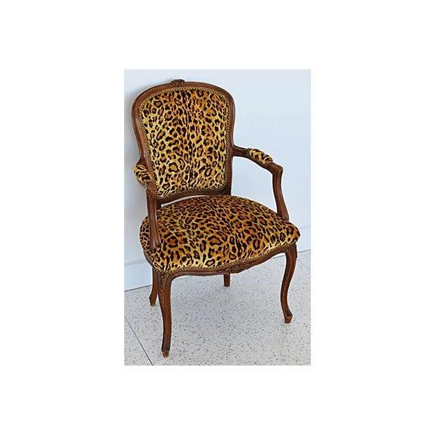 Belgian 1950s Leopard Velvet Carved Armchair For Sale - Image 3 of 12