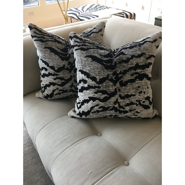 Schumacher Schumacher Black & White Tiger Pillows - a Pair For Sale - Image 4 of 4