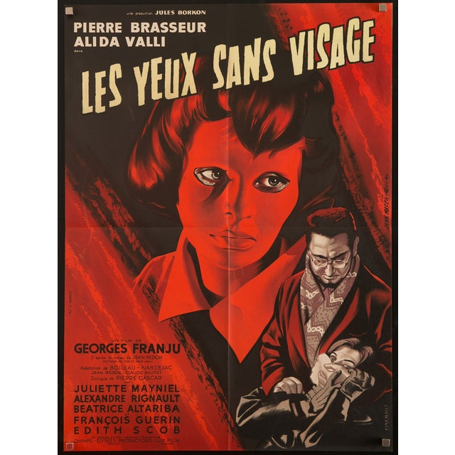 "Original 1960 first release poster for the classic French horror film ""Les Yeux Sans Visage""/""Eyes Without a Face.""..."