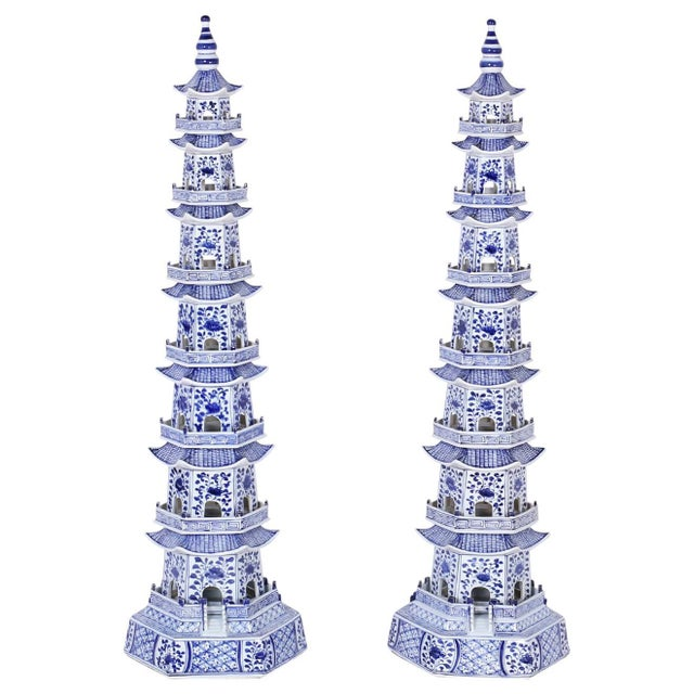 Chinese Blue and White Porcelain Pagodas - A Pair For Sale - Image 9 of 9
