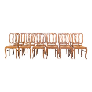 S/12 Louis XV Dining Chairs With Rush Seats For Sale
