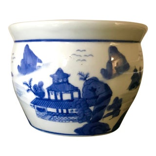 Chinoiserie Blue and White Porcelain Planter For Sale