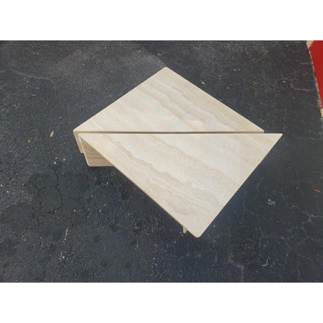 1970s Post-Modern Italian Travertine Coffee Table - 2 Pieces For Sale - Image 5 of 9