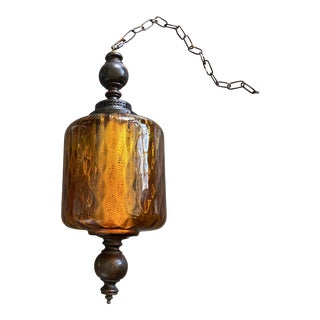 1960's Amber Glass Swag Hanging Lamp For Sale
