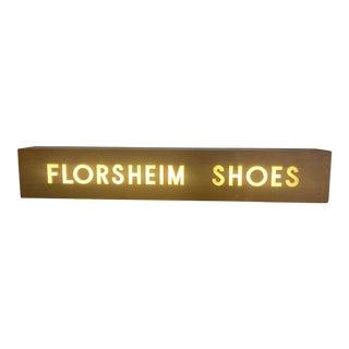 1960s Mid-Century Large Wooden Light Box Fluorescent Florsheim Shoes Store Sign For Sale