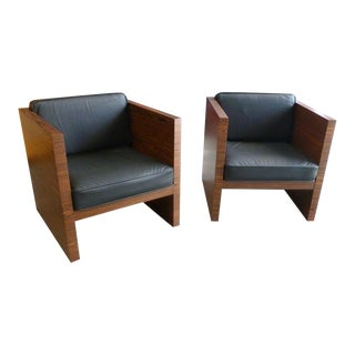 1980s Mid Century Modern Rosewood & Leather Cube Lounge Chairs - a Pair