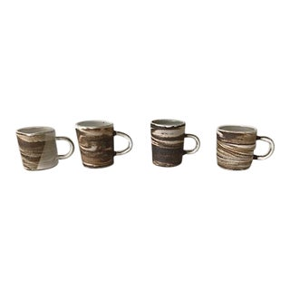 Agate Ware Brown and White Swirl Ceramic Mugs - Set of 4 For Sale