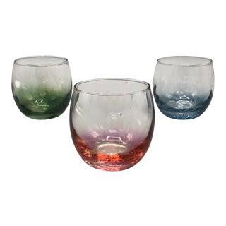 1970s Mid Century Italian Handblown Cognac Wine Glasses - Set of 3 For Sale