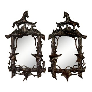 Early 20th Century Antique Carved Wood Vanity Mirrors / Photo Frames - a Pair For Sale