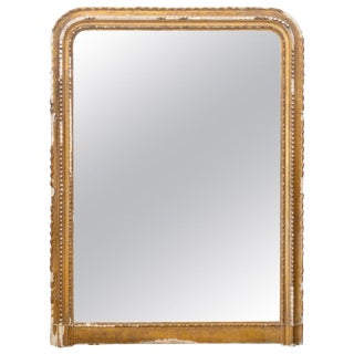 Distressed Antique French Gilt Frame Louis Philippe Mirror With Original Glass For Sale