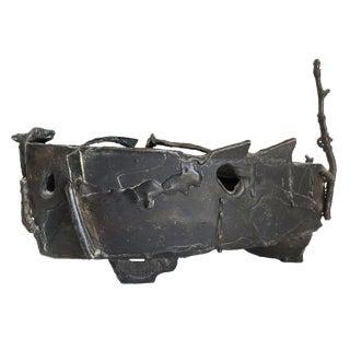 Solid Bronze Vintage Brutalist Vessel