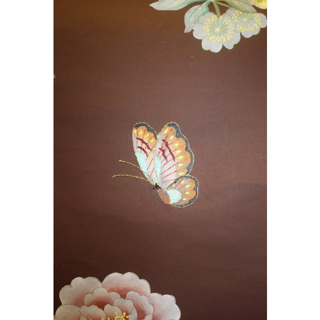 Red Hand Painted and Embroidered Mural on Paper Backed Silk For Sale - Image 8 of 13
