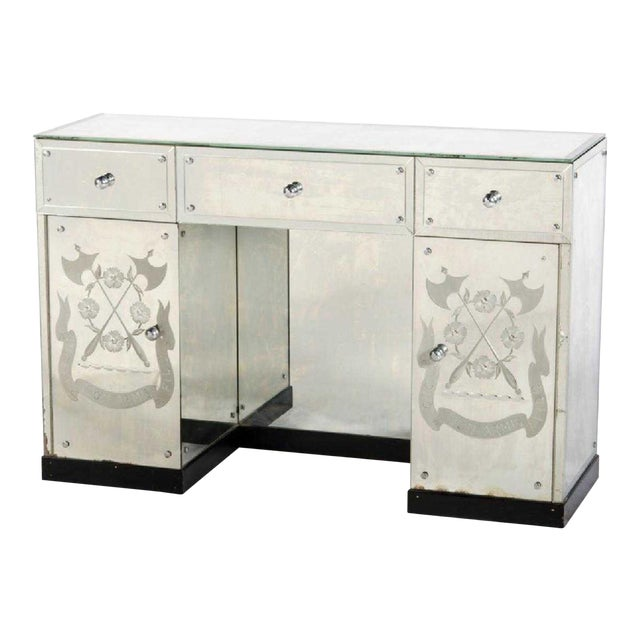 Hollywood Regency Mirrored Desk or Console Table For Sale