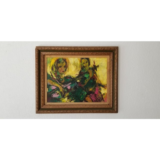 Mid-Century Modern 1960 Fran Archdeacon Oil Painting of Two Females With Guitar For Sale - Image 3 of 13