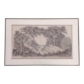 Vintage Black and White Pen and Ink Landscape Drawing, Signed 1987 For Sale