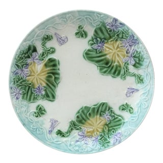 1890 French Majolica Violets Salins Plate For Sale