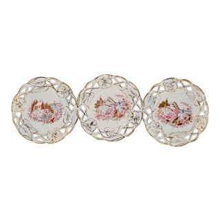 Set of Three 19th C French Porcelain Plates For Sale