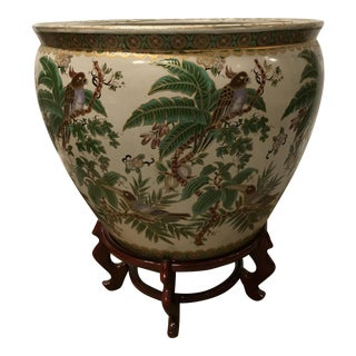 Asian Fish Motif Bowl With Hand Painted Birds in Door or Garden Use as Planter Japanese, Chinese Oriental Fishbowl