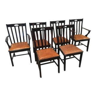 Contemporary Painted Leather Seat Dining Chairs - Set of 6