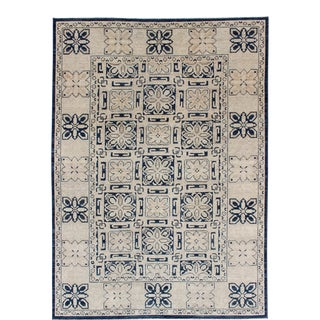 Khotan Design Rug With Geometric Medallions in Navy Blue and Ivory For Sale