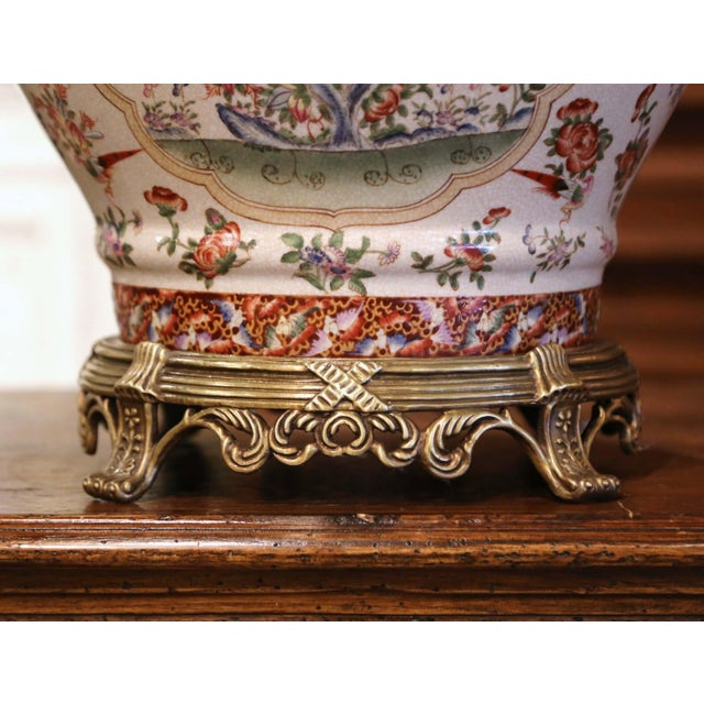Mid-Century Chinese Bronze and Painted Porcelain Planter With Butterfly Motifs For Sale In Dallas - Image 6 of 10