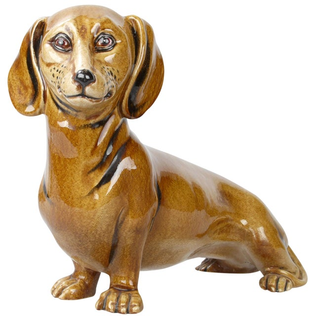 Italian Brown Glazed Ceramic Dog For Sale