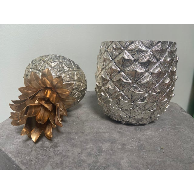 Rare Mauro Manetti pineapple ice bucket with hammered silver pineapple. Brass and gilt fronds. Made in Italy and signed by...