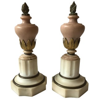 Pair of Small 1920s Marble Urns For Sale