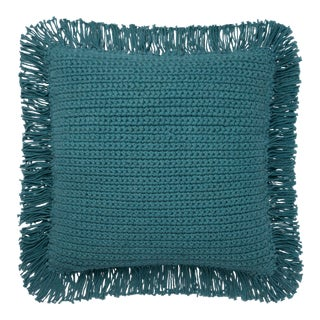 """Justina Blakeney X Loloi Teal 22"""" X 22"""" Cover with Down Pillow For Sale"""