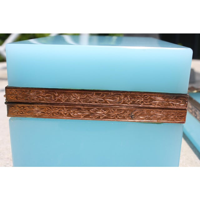 Early 20th Century French Tiffany Blue Opaline Glass Box and Ashtray Set For Sale In Dallas - Image 6 of 13