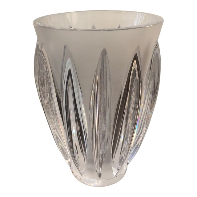 "Lalique ""Courchevel"" Frosted and Clear Glass Vase For Sale"