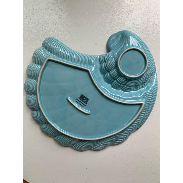 1980s Modern Vintage Sadek by Andrea Blue & Antique White Ceramic Oyster Shell Serving Platter For Sale - Image 5 of 9