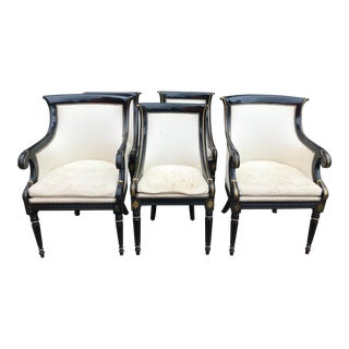 Black Regency Style Dining Chairs - Set of 6 For Sale