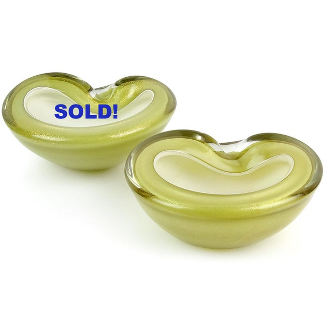 Only 1 Left! Beautiful Murano hand blown olive green and gold flecks Italian art glass bowl. Documented to designer...