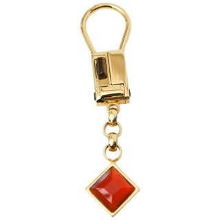 Judith Leiber Gold Plated Tiger's Eye and Carnelian Agate Key Chain For Sale