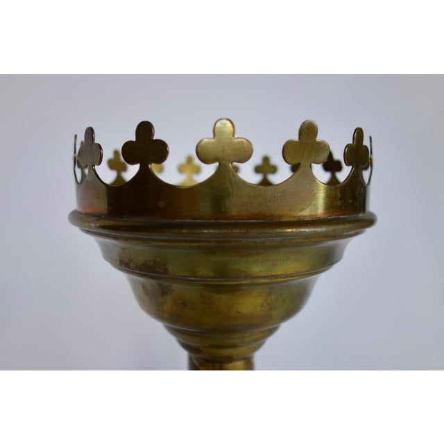 Spanish Brass Large Scale Candlestick For Sale - Image 3 of 5