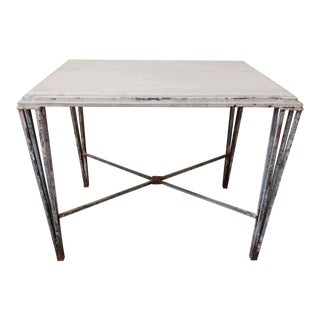 1920s French Art Deco Wrought Iron and Marble Garden Table For Sale