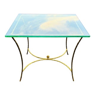 Mid-Century Modern French Bronze and Glass Center Table For Sale
