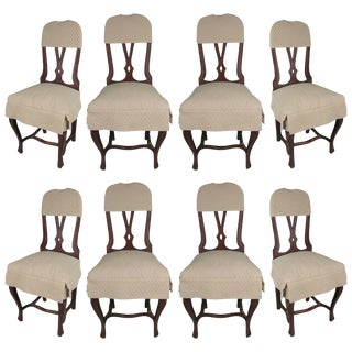1970s Swedish Style Dining Chairs With Quilted Covers - Set of 8 For Sale